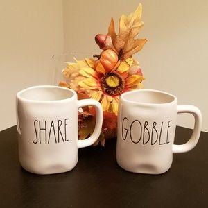 Rae Dunn LL Thanksgiving Mugs NWT